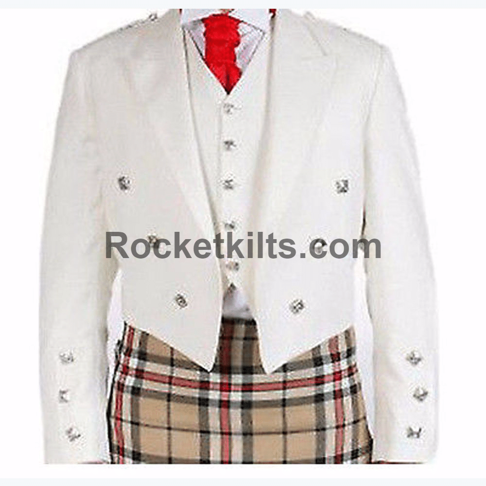 White Wedding Kilt: Traditional Scottish Wedding White Prince Charlie Jacket