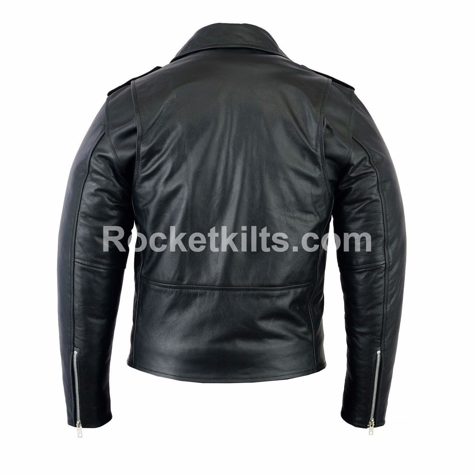 Mens Classic Brando Black Leather Motorcycle Jacket Biker ...