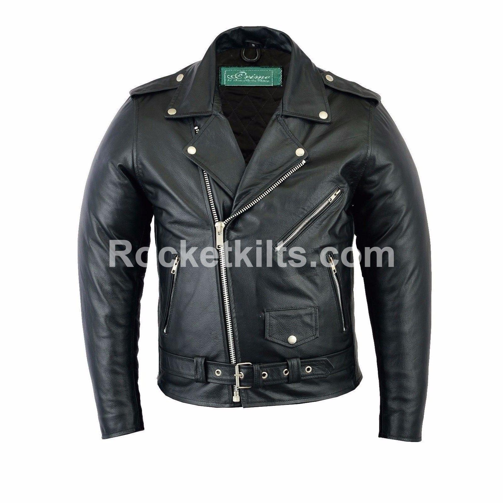 Mens classic brando black leather motorcycle jacket biker for Leather motor cycle jackets