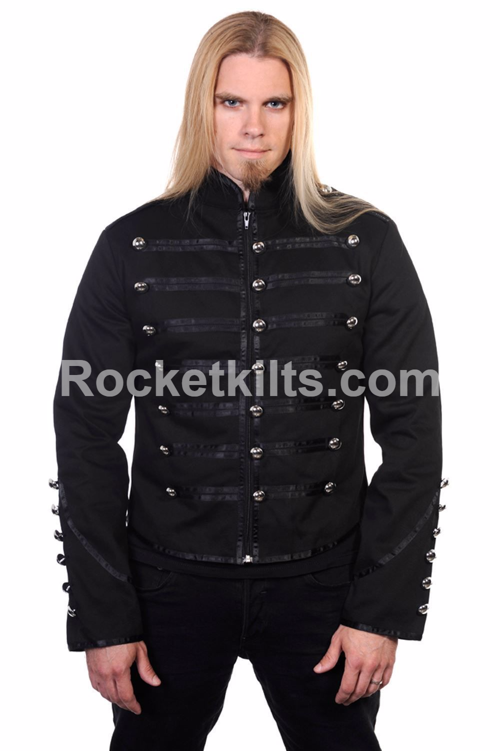 Black Banned Drummer Parade Military Jacket Men Goth Adam Ant Style
