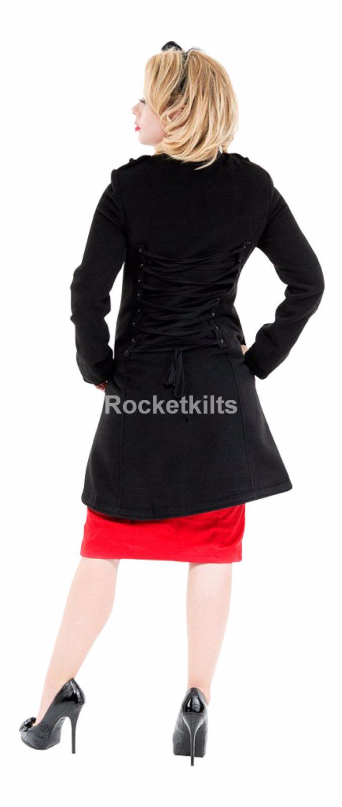 Ladies New Black Military Gothic Style Braided Wool Coat Jacket