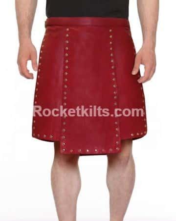 Scottish Clothing Designers | Men S Gladiator Kilt With New Genuine Leather Scottish Warrior Pleats