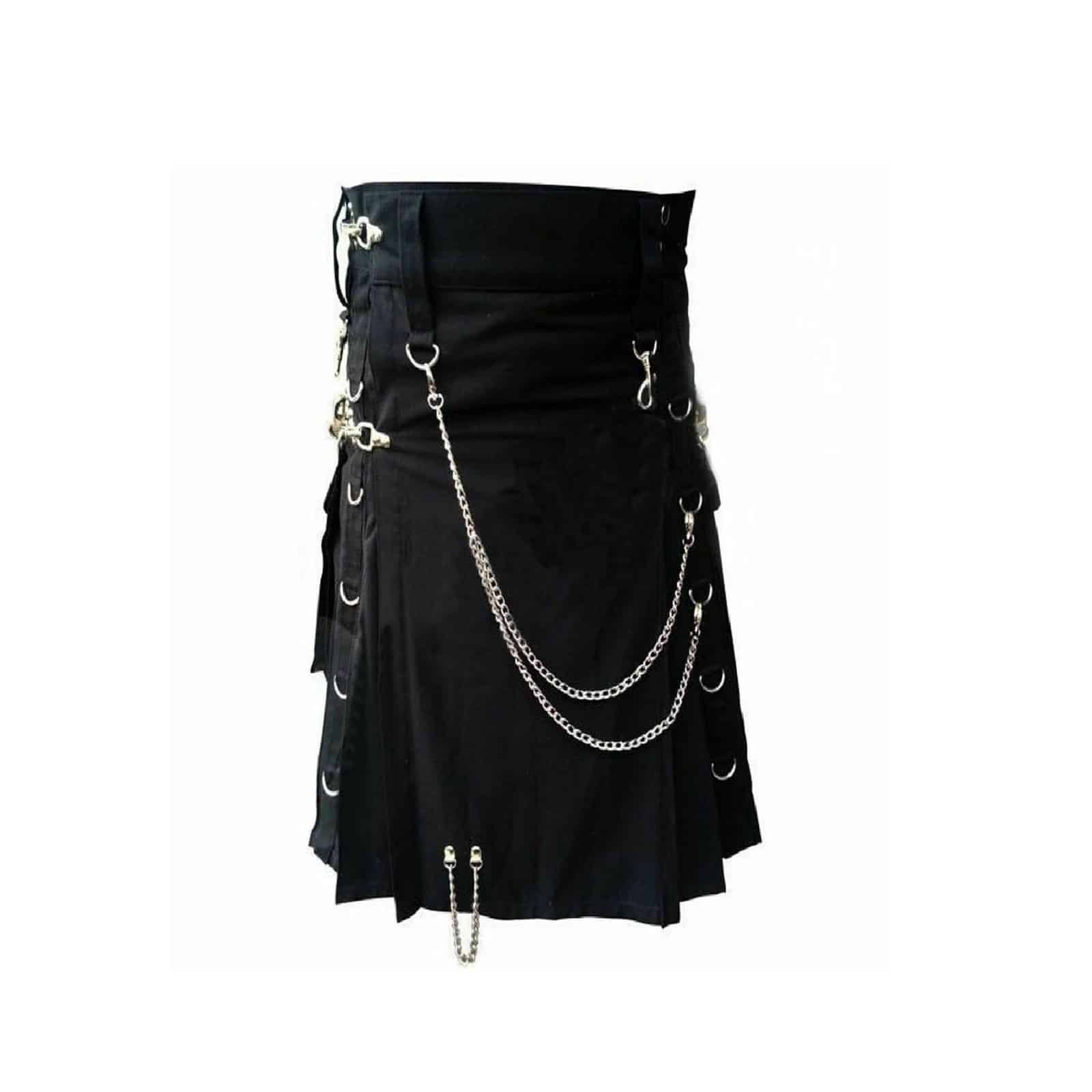 AK New Men Scottish Black Gothic Utility Kilt Goth Kilt Punk Kilt 100/% Cotton